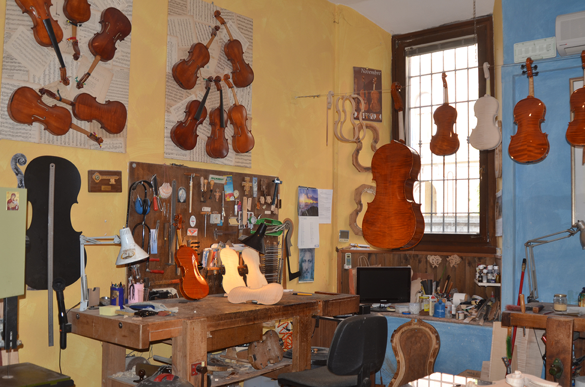 Mr Stefano Trabucchi's Cremona violin making workshop