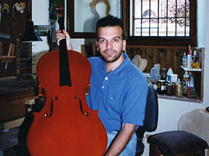 Mr Trabucchi and one of his cellos
