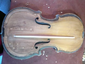 Open antique violin